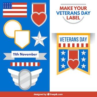 Veterans day label set