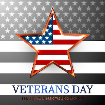 Veterans day of usa met ster in nationale vlag kleuren amerikaanse vlag. eerbetoon aan allen die dienden.