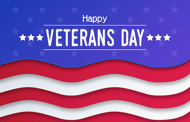 Veterans day papercut background