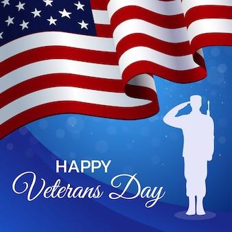 Veterans day verjaardag platte sjabloon. ceremonie voor oorlogshelden.