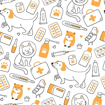 Veterinair naadloos patroon met huisdieren, medicijnen en voedsel