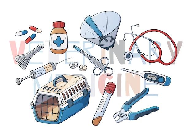 Veterinaire accessoires voor katten en honden. vector.