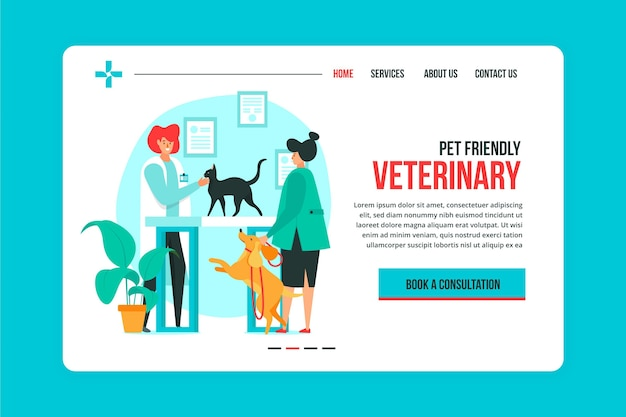 Veterinaire bestemmingspagina-sjabloon Premium Vector