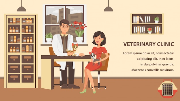 Veterinaire checkup banner kleur vector sjabloon