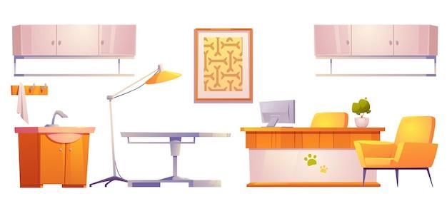 Veterinaire dierenarts kliniek meubels en spullen geïsoleerd