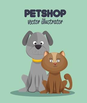 Veterinaire dierenwinkel grafische kat en hond
