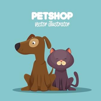 Veterinaire dierenwinkel kat en hond grafisch zitten