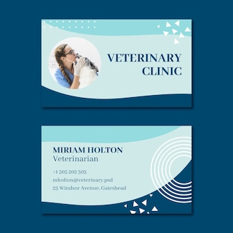 Veterinaire dubbelzijdige visitekaartje horizontale sjabloon