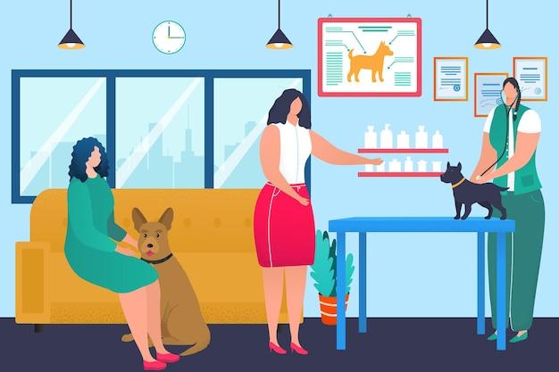 Veterinaire kliniek concept, arts dierenarts zorg over hond huisdier