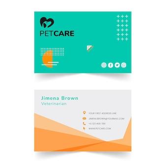 Veterinaire kliniek en gezond huisdieren horizontaal visitekaartje