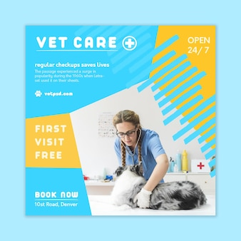 Veterinaire kwadraat flyer-sjabloon