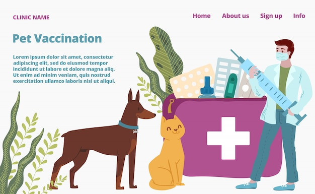 Veterinaire ziekenhuis, kleine dierenarts arts houden spuit landing webpagina, concept banner website sjabloon cartoon afbeelding.