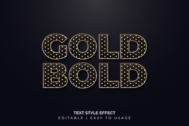Vetgedrukt tekststijleffect met gouden polkadotstijl