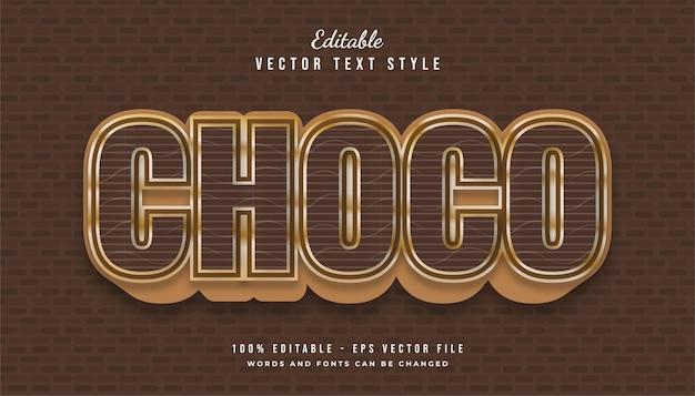 Vetgedrukte choco-tekststijl in bruin en goud met structuur- en reliëfeffect