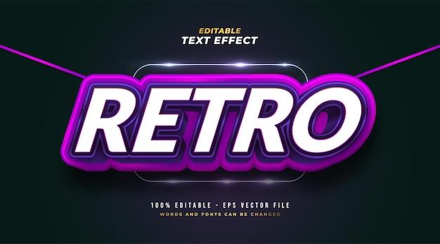 Vetgedrukte retro-tekststijl in wit en paars met 3d-reliëfeffect. bewerkbaar tekststijleffect