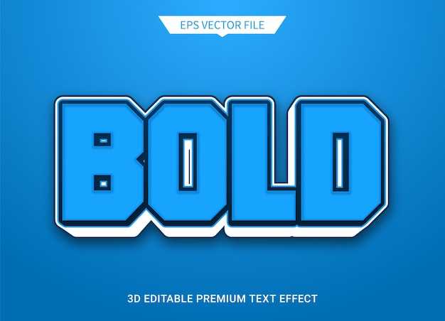 Vetgedrukte stijl 3d bewerkbare tekststijl effect premium vector