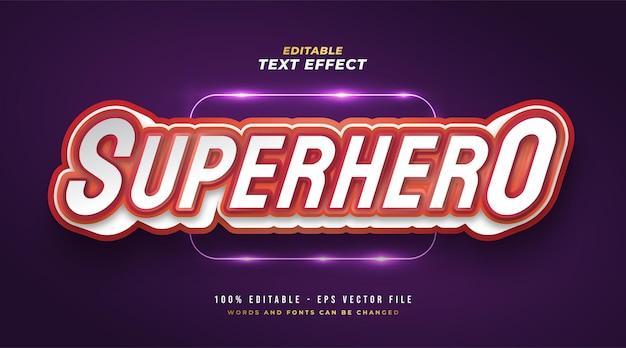 Vetgedrukte superheld-tekststijl in rood en wit met 3d-reliëfeffect. bewerkbaar tekststijleffect