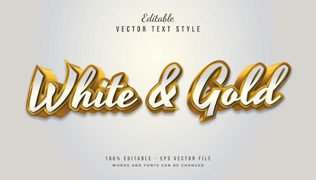 Vetgedrukte witte en gouden tekststijl met reliëfeffect