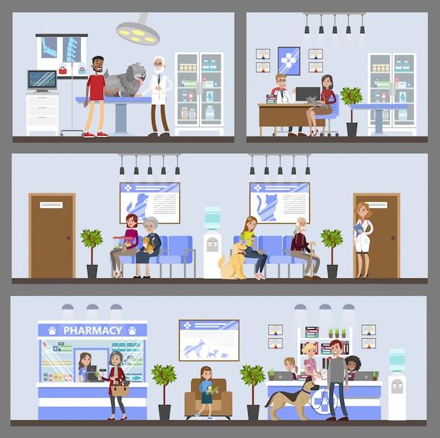 Vetkliniek gebouw interieur met patiënten en eigenaren.