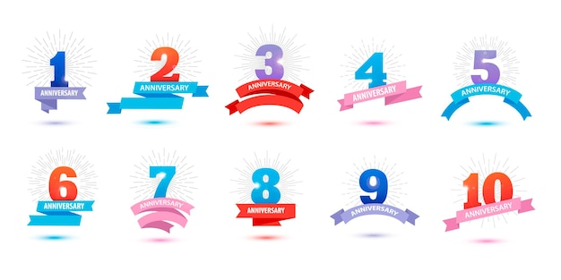Vetor set jubileumborden met linten 12345678910 sjabloonontwerp geboortedag