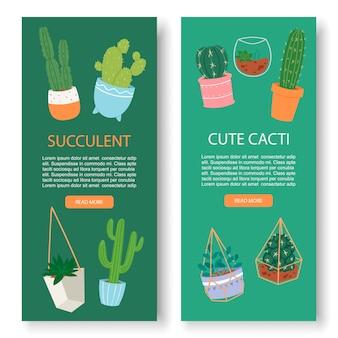 Vetplanten en cactus verticale botanische vector banner sjabloon. groen weelderig, cactussen, vetplanten, bladeren, kruiden in aardewerk en aquarium.
