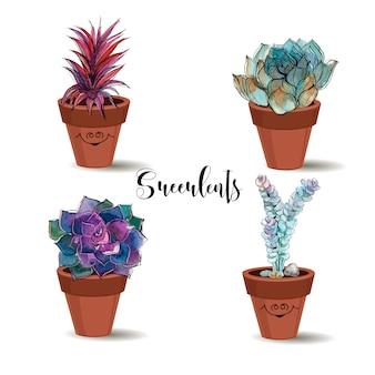 Vetplanten in kleipotten
