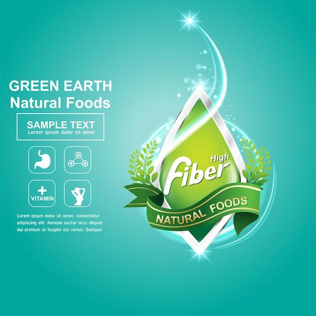 Vezellogo voor gezonde producten of sjabloon voor spandoek-poster.