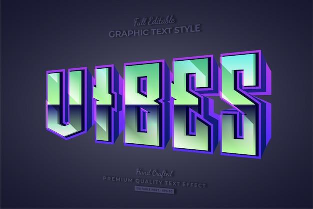 Vibes 80's retro gradient 3d bewerkbare teksteffect lettertypestijl