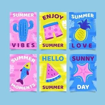 Vibes van de zomerdagen platte ontwerpkaarten