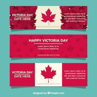 Victoria dag banner met canadese vlag ontwerp Premium Vector