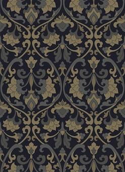 Victoriaans bloemmotief. donkere sjabloon voor textiel, behang.