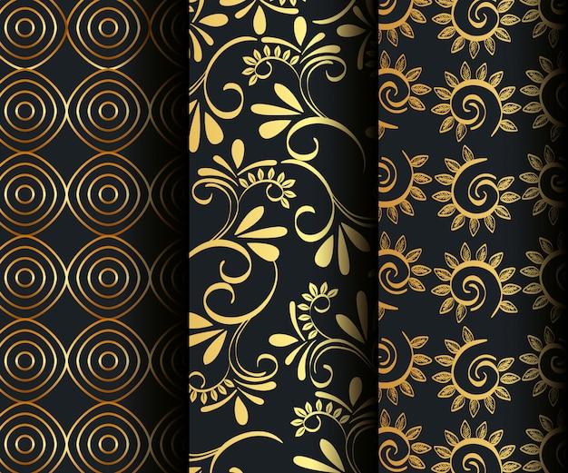 Victoriaanse en bloemen gouden naadloze patronen instellen