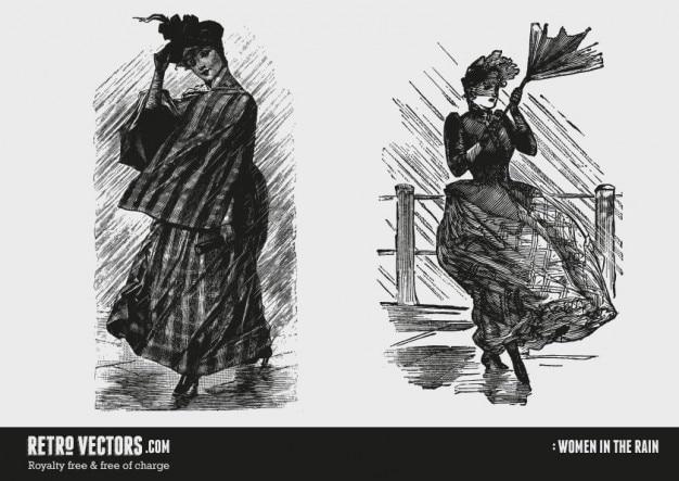 Victoriaanse vrouwen in de regen