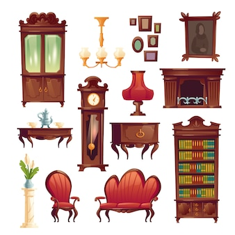 Victoriaanse woonkamer spullen, oude klassieke meubels