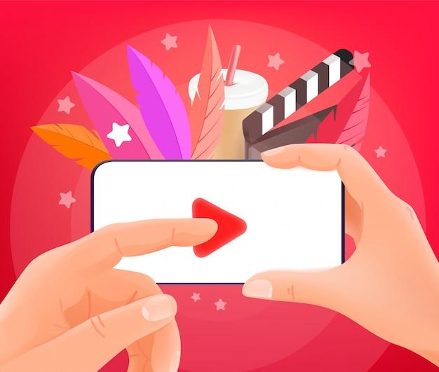 Video bekijken via smartphone. man met moderne smartphone. trendy stijl illustratie