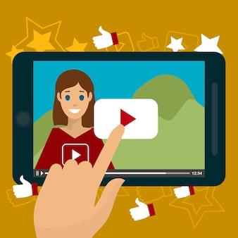 Video bloggen creatieve vlakke stijl concept vectorillustratie, hand op de tablet op de afspeelknop, vrouw video blogger, voor posters en banners
