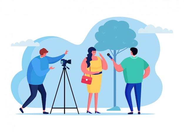 Video bloggen interview vrouwelijk karakter, mannelijke journalist online streamen geïsoleerd op witte, platte illustratie.