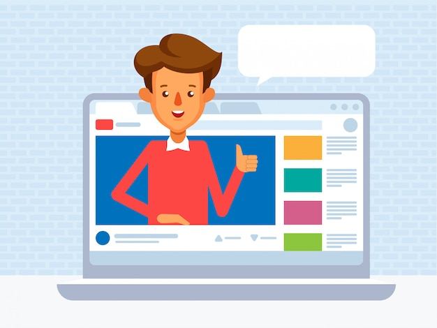 Video blogger concept. illustratie met lege tekstballon