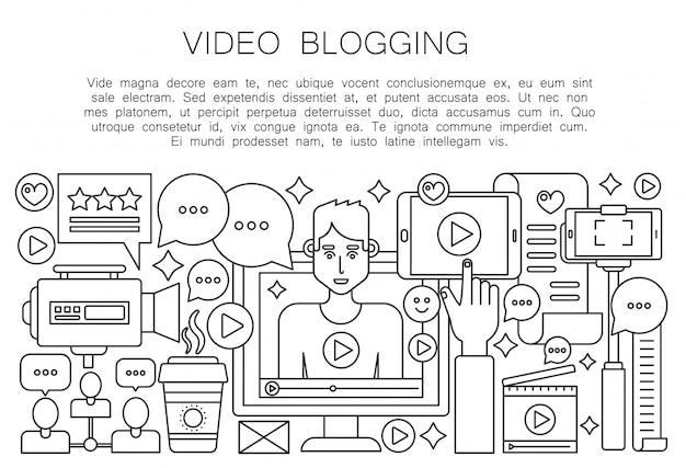 Video blogger dunne lijn concept
