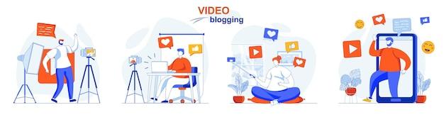 Video blogging concept set bloggers die video's opnemen maken digitale inhoud