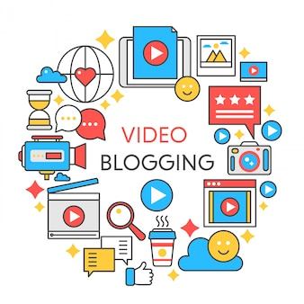 Video blogging platte lijn illustratie.