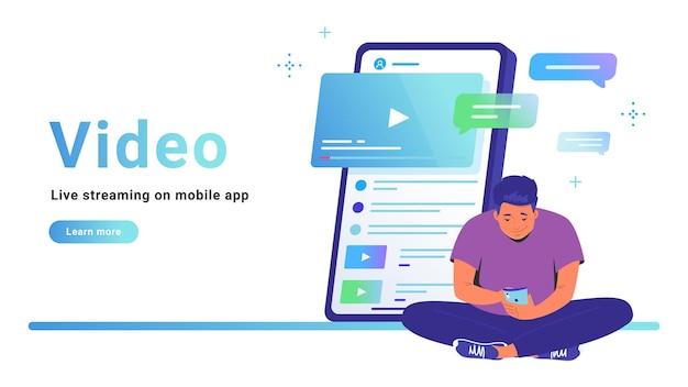 Video en live streaming op mobiele app. platte lijn vectorillustratie van schattige man zit alleen in lotus pose met smartphone en online video kijken. smartphone met opmerkingen op witte achtergrond