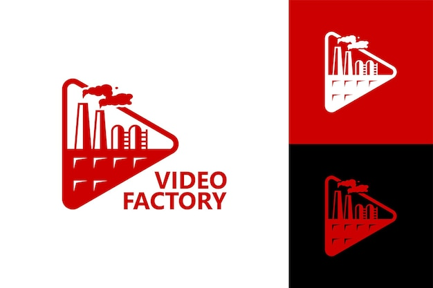Video fabriek logo sjabloon premium vector