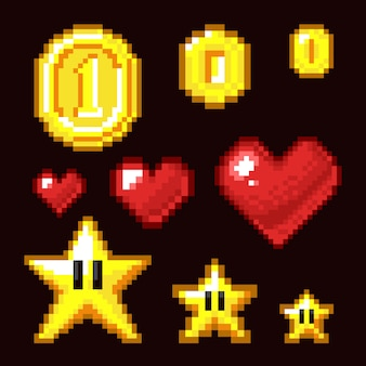 Video game 8 bit assets geïsoleerd, coin, star en heart pixel retro iconen in verschillende grootte