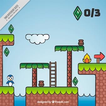 Video game achtergrond met een pinguïn