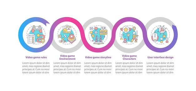 Video game design componenten infographic sjabloon. video naam regels presentatie ontwerpelementen. datavisualisatie met 5 stappen. proces tijdlijn grafiek. werkstroomlay-out met lineaire pictogrammen