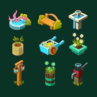 Video game garden design collectie van elementen