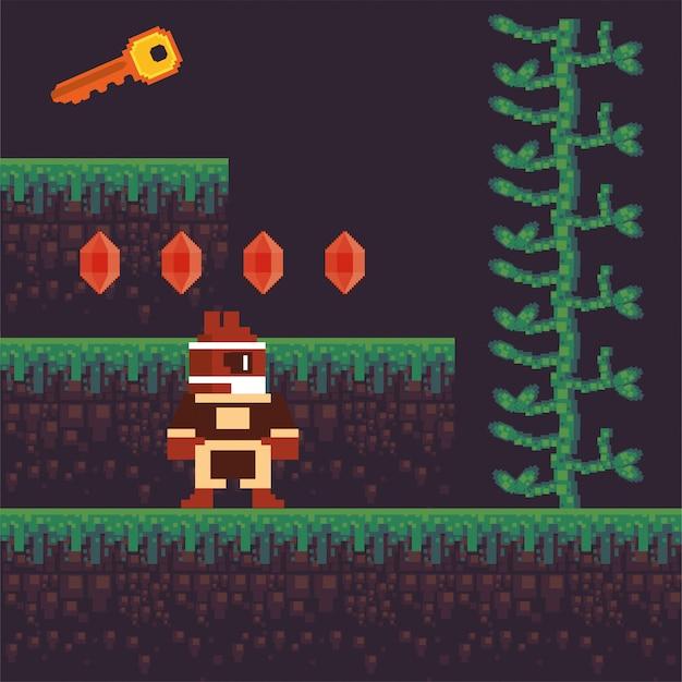Video game krijger in korrelig scène