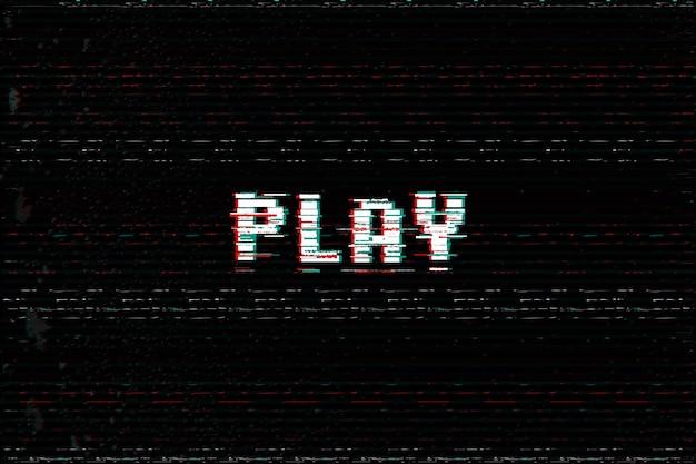 Video game play bericht d glitch vhs vervormen effect tekst arcade begin vectorillustratie