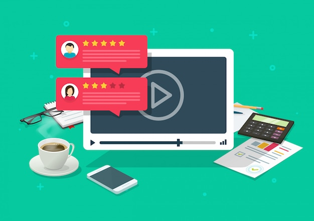 Video-inhoud review getuigenissen feedback online op desktop-tafel op de werkplek of reputatiebeoordeling chat-evaluatiebureau platte cartoon illustratie